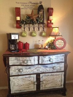 transform your thrift shop finds into real treasures, painted furniture, repurposing upcycling, From old ancient buffet to beautiful and useful coffee bar Coffee Bar Station, Home Coffee Stations, Coffee Bars In Kitchen, Coffee Bar Home, Kitchen Small, Bar Furniture, Painted Furniture, Rustic Furniture, Coffee Nook