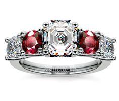 Asscher Trellis Ruby and Diamond Gemstone Engagement Ring in Platinum http://www.brilliance.com/engagement-rings/trellis-ruby-diamond-gemstone-ring-platinum