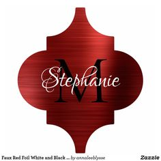 Faux Red Foil White and Black Monogram Arabesque Cutout Holiday Cards, Christmas Cards, Photo Sculpture, Monogram Gifts, Arabesque, Christmas Card Holders, High Gloss, Keep It Cleaner, Sculptures