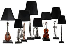 Table lamps made from a variety of reclaimed musical instruments.- Antiques by Design