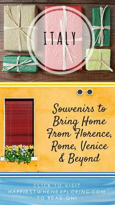 Italy: Souvenirs to Bring Home from Florence, Rome, Venice & beyond! / Gift ideas at happiestwhenexploring . com CLICK to visit the post! #Rome