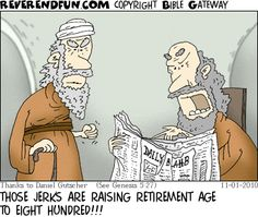 DESCRIPTION: Two elderly men reading a newspaper CAPTION: THOSE JERKS ARE RAISING RETIREMENT AGE TO EIGHT HUNDRED!!!