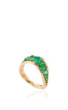 Stream Wave Ring in Emeralds by Fernando Jorge Resort 2016 - Preorder now on Moda Operandi