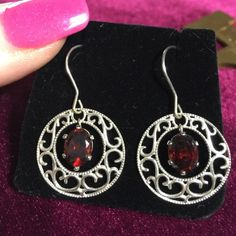 🌹DEEP RICH ALMANDINE GARNET DANGLE BEAUTIES🌹 These lovely Almandine Garnets are rich and Deep in color. Each Gemstone is a magical light catching 8x6.. The settings are ornately designed for a delicate touch. You will love wearing them as they move and capture light. From top to base of earring they are over an inch long and quarter sized.  NWOT. 🍃🌹🍃I set these earrings 🍃🌹🍃Set in 925 Sterling Silver Garnets Galore Jewelry Earrings