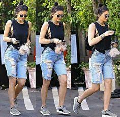 Knee length Denim Shorts Women Vintage Ripped Jeans | Jeans ...