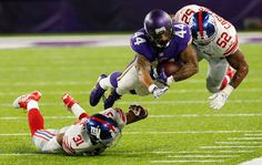 Monday Night Football: Giants vs. Vikings:   October 3, 2016  -  24 - 10, Vikings  -    Minnesota Vikings running back Matt Asiata  dives for extra yardage between New York Giants defenders Trevin Wade, left, and Jonathan Casillas during the second half of an NFL game, Monday, Oct. 3, 2016, in Minneapolis.