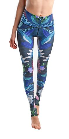 Women Digital Print Lotus Dragonfly Fitness Quick Dry Exercise Leggings High Waist Full Length Energy Pants Trousers Ropa Mujer #Affiliate
