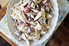 My husband's favorite chicken salad: Baked chicken cubed, apples, red grapes, celery, nuts. Dressing: 1c greek yogurt, 4t apple cider vinegar, 6t honey, 1t poppyseeds, S to taste.