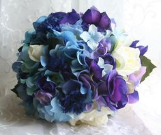 Blue Wedding Bouquet with Gardenias, Ranunculus and Hydrangea - White Rose Boutonniere - Royal Blues and Purples Bridal Bouquet. Blue Orchid Bouquet, Gardenia Bouquet, Blue Orchid Wedding, Orchid Bridal Bouquets, Purple Wedding Cakes, Blue Orchids, Wedding Colors, Wedding Bouquets, Wedding Flowers