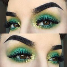 colorful green eye makeup