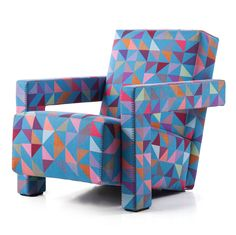 Dutch designer Bertjan Pot has created a colourful textile to upholster Cassina's Utrecht armchair, designed by Gerrit Rietveld in 1935