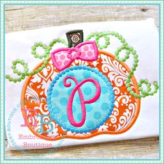 Embroidery Designs Dotted Monogram Pumpkin Applique - This design is to be used on an embroidery machine. Fall Applique, Halloween Applique, Pumpkin Applique, Monogram Shirts, Embroidery Monogram, Shirt Embroidery, Applique Patterns, Applique Designs, Machine Embroidery Designs
