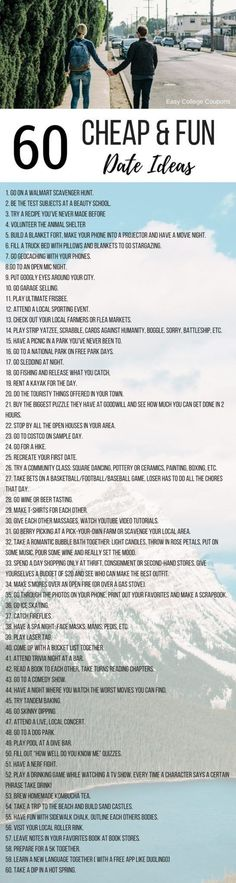 60 Fun and Cheap Date Ideas for College Students! Cheap Date Ideas for College Students | Fun | Frugal