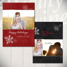 Christmas Card Template Blackboard Holiday C by BeautyDivineDesign, $8.00