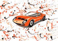 Lamborghini Muira in pencil and watercolour on A4 30x21cm card