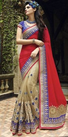 Vibrant Red And Off-White Net Saree With Blouse.