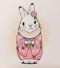 Rabbit Illustration, Illustration Art, Illustrations, Rabbit Drawing, Rabbit Art, Funny Bunnies, Cute Bunny, Kawaii Drawings, Cute Drawings