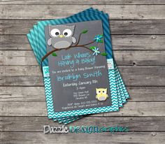 Blue Chevron Stripes Owl Baby Shower invitation by DazzleDesignGraphics,
