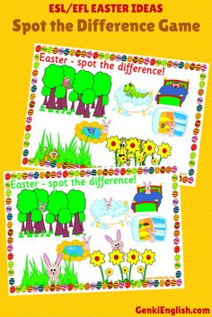 These spot the difference sheets are great for animals and prepositions! Another great game for your #EFL class this #Easter!