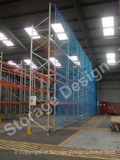 Anti collapse mesh, load tested nylon netting, installed on existing pallet racking by storage design limited Pallet Racking, Storage Design, Project Management, Mesh, Projects, Safety, Home Decor, Log Projects, Security Guard