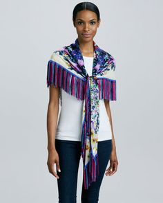 Floral-Print Georgette Scarf with Fringe by Roberto Cavalli at Neiman Marcus.
