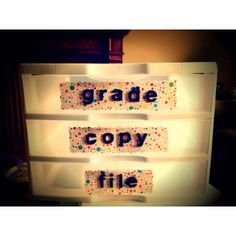 Classroom organization - label Grade, Late Work, Return