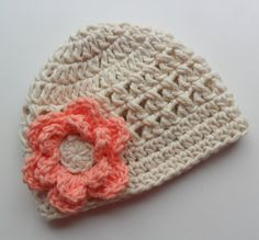 Crochet baby Hat, Girls Cotton Beanie Hat, Ecru and Coral, MADE TO ORDER