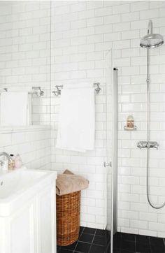 All white  #bathroom  like the black tile floor too