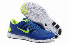 Nike Free 5.0 Blue Lime Mens Running Shoes