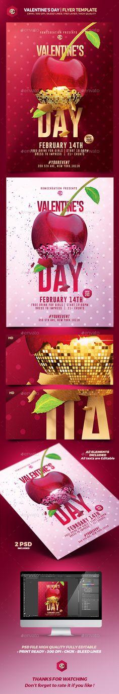 Valentine's Day | 2 Psd Flyer Template #design Download: http://graphicriver.net/item/valentines-day-2-psd-flyer-templates/14513704?ref=ksioks