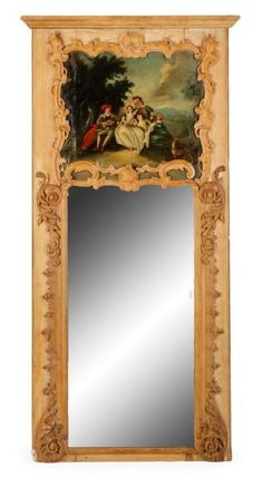Monumental French Louis XV Wood Trumeau Mirror : Lot 837. Estimated $2,000-$4,000
