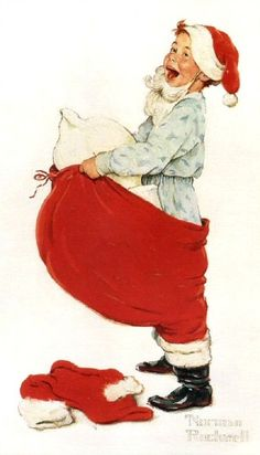 Boy in Santa Suit by Norman Rockwell for Hallmark Cards Norman Rockwell Prints, Norman Rockwell Paintings, Christmas Pictures, Christmas Art, Vintage Christmas, Norman Rockwell Christmas, Vintage Santas, Decoupage, American Artists