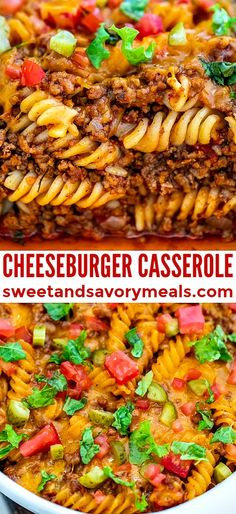Cheeseburger Casserole is easy to make filling and delicious loaded with cheddar cheese beef juicy tomatoes and pasta. Lunch Recipes, Easy Dinner Recipes, Crockpot Recipes, Easy Meals, Cooking Recipes, Potato Recipes, Pasta Recipes, Soup Recipes, Breakfast Recipes
