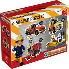 Jumbo Fireman Sam 4 Shaped Jigsaw Puzzles In A Box - The Fireman Sam 4 in 1 Shaped Puzzles is a set of brightly coloured jigsaw puzzles which every child will enjoy piecing together. The four shaped jigsaw puzzles each feature a different character from http://www.comparestoreprices.co.uk/childs-toys/jumbo-fireman-sam-4-shaped-jigsaw-puzzles-in-a-box-.asp