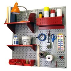 Pegboard Organizer Storage Kit in Gray & Red