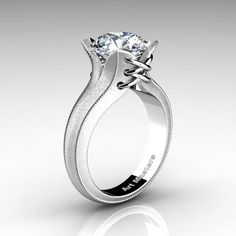 Forever Classic 14K White Gold 3.0 Ct White Sapphire Solitaire Corset Ring R456-14KWGWS | ArtMastersJewelry