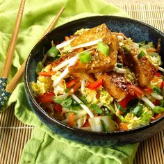 Sweet and Sour Slaw with Sticky Ginger Tofu http://www.connoisseurusveg.com/2014/05/sweet-and-sour-slaw-with-sticky-ginger.html
