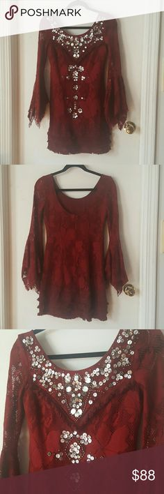 Stunning Free People Game Shift Red Dress Sz 0 Gorgeous & stunning embellished dress by Free People. Excellent condition, worn once to a wedding. Cranberry red color and beautiful bell sleeves. Size 0, fits like an xs or small. Basically brand new. Extremely well-made and detailed. Free People Dresses Mini
