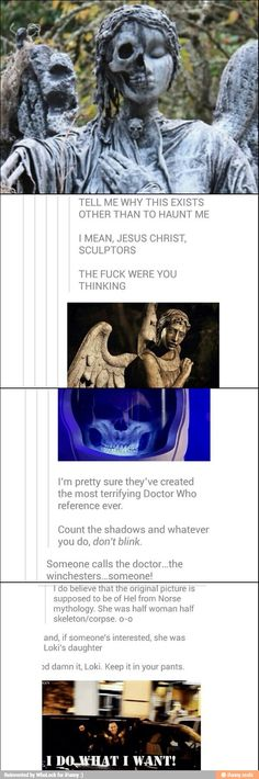 OMG DON'T BLINK. STAY OUT OF THE SHADOWS. CALL SAM AND DEAN AND CAS OR THE DOCTOR. OMG!