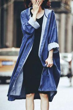 DoreenBow New Design Spring Autumn Lady Long Jeans Jacket Women Blue Denim Punk Style Jackets Coat Outwear With Hat, 1 PC Denim Trench Coat, Hooded Trench Coat, Long Trench Coat, Hooded Coats, Super Long Coats, Trench Bleu, Boyfriend Coat, Langer Mantel, Mode Jeans