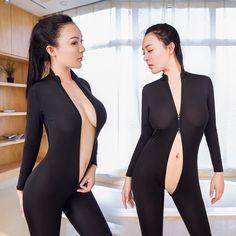 Women Striped Sheer Bodysuit Zipper Long Sleeve Open Crotch Jumpsuit Romper #ebay #Fashion