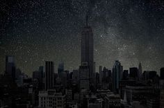 """A picture of what NYC would look like, at night, without electric light. """"Across the United States, natural darkness is an endangered resource. East of the Mississippi, it is already extinct; even in the West, night sky connoisseurs admit that it's quicker to find true darkness by flying to Alice Springs, Australia, than traveling to anywhere in the lower forty-eight."""""""