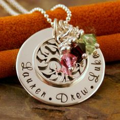 Hand Stamped Jewelry - Sterling Silver Personalized Mommy Jewelry - Family Tree Pendant - My Family (Small)  @Intentionally4u
