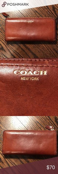 Coach Brown Leather Wallet -gently worn  -beautiful brown tone  -interior contains 2 compartments for paper money, a coin pouch, and 8 card slots! Coach Bags Wallets