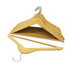 Keep your clothing organized and wrinkle-free with these durable wooden suit hangers, outfitted with a chromed steel hook for added protection. Each hanger features convenient cut-out notches for hanging women's camisoles, dresses and skirt straps.