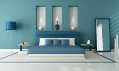 blue-wall-blue-bedroom-decoration ›Home Decorating Ideas - Bedroom paint ideas - - Blue Bedroom Colors, Dining Room Colors, Bedroom Color Schemes, Blue Rooms, Modern Color Schemes, Modern Colors, Accent Wall Bedroom, Master Bedroom, Luxury Bedding Collections