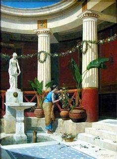Pompeiian Interior by Luigi Bazzani. Ancient Greek Architecture, Roman Architecture, Ancient Buildings, Historical Architecture, Ancient Pompeii, Pompeii And Herculaneum, Ancient Roman Houses, Rome Antique, Roman Era