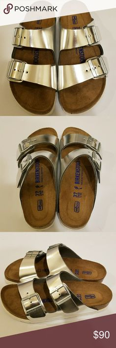 965c5123bea8 NEW Birkenstock Arizona Soft Footbed Sandals 37 New Birkenstock Arizona  Metallic Silver Sandals with a Soft Footbed.