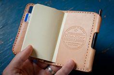 "Wallet / notebook / pen - ""The Original Park Sloper"" - hand stitched natural leather"