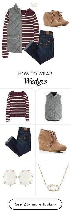 """And"" by bows-and-anchors on Polyvore featuring H&M, American Eagle Outfitters, Kendra Scott, J.Crew and TOMS"